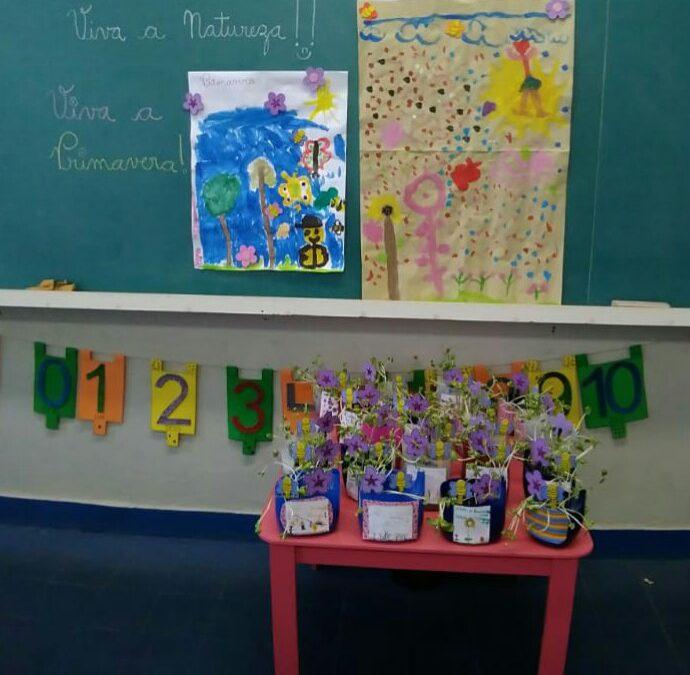 Turma do 1° Ano fazendo os vasinhos reciclados